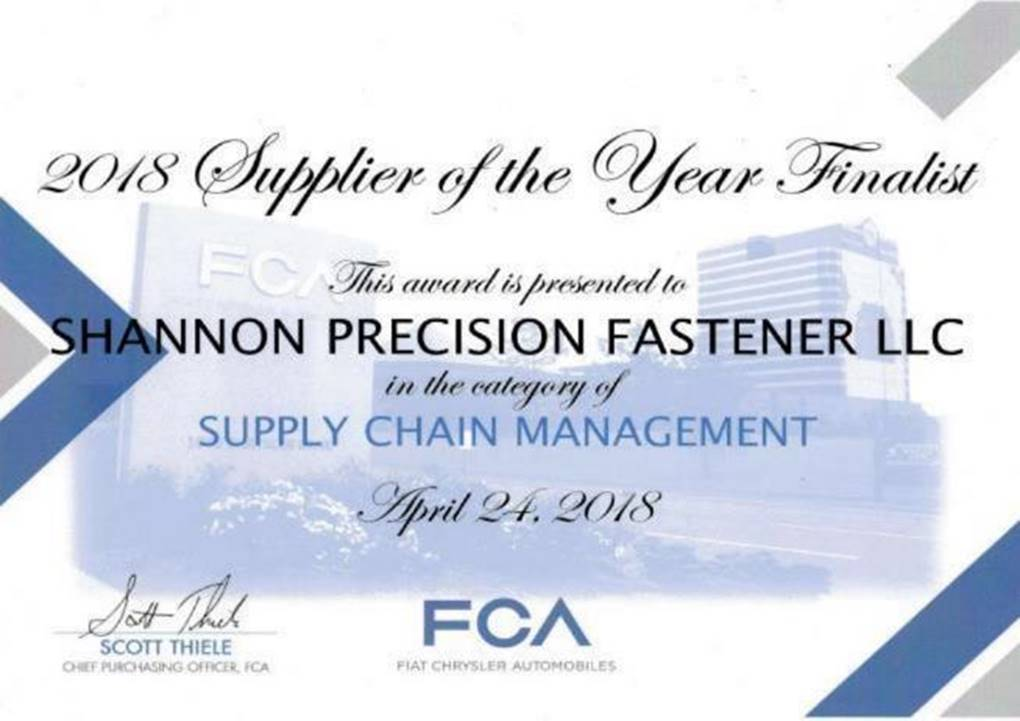 FCA 2018 Supplier of the Year Finalist